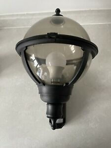 Outdoor Pir Light Black With Smoke Plastic Light With Bulb Included And Fixings