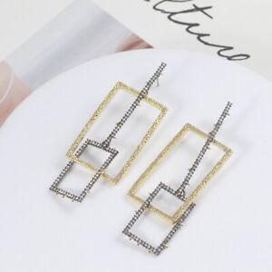 Alexis Bittar Geometric Irregular Crystal Encrusted Brutalist Link Post Earrings