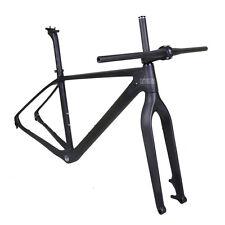 "19"" 29er Carbon Mountain Bike Frame Fork Handlebar Stem Matt 142mm Thru Axle BSA"