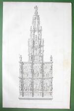 BELGIUM Choir Retable in Church of Braine le Comte - FOLIO Antique Print