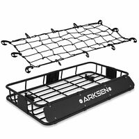 """30"""" x 50"""" x 6"""" Roof Rack With Cargo Net Top Luggage Cargo Carrier, Black"""