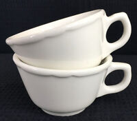 Vintage Buffalo China Restaurant Ware Coffee Cups Scalloped White Set of 2 USA