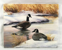 Vintage oil painting. Pair of Canadian geese. Winter scene. Signed F. Hammock.