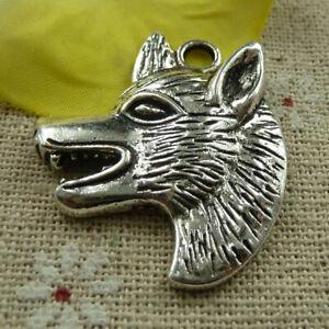 Free Ship 32 pcs tibetan silver Wolf head charms pendant 35X30mm L-3947