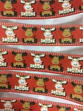 """Reindeer 7/8"""""""" Printed Grosgrain Christmas Ribbon 1m"""