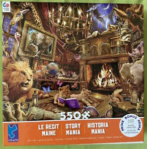 """Ceaco 550 Piece Puzzle Story Mania """"Wild Animal Library."""" Poster Included"""