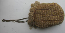 Antique Gold Glass Beaded Purse Handbag Pouch Drawstring Metal Strap As Is