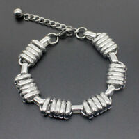 Men Silver Stainless Steel Figaro Curb Link Chain Wristband Clasp Cuff Bracelet