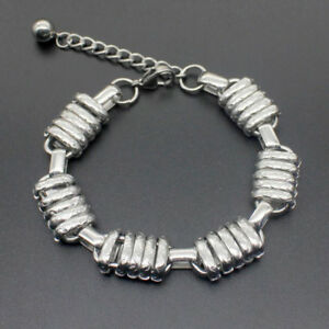 Mens Women Silver Stainless Steel Bracelet Bangle Wristband Cuff Curb Chain Link
