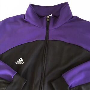 ADIDAS ClimaLite Warm Up Track Jacket Full Zip ADULT MENS XL Black Purple Pocket