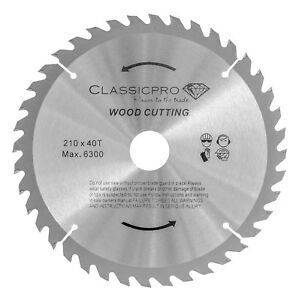 Classicpro TCT 210mm x 30mm Bore + Reducer  40T Circular Saw Blade For Wood UK