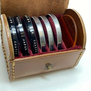 Walz and Vivitar close up macro lens sets vintage leather case documentation