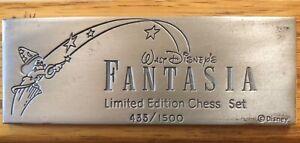 Walt Disney's FANTASIA Limited Edition Pewter CHESS Set & Board 1991 RARE