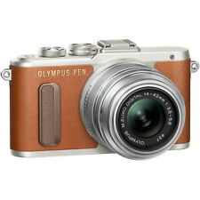 Olympus PEN E-PL8 Mirrorless Camera in Brown with 14-42 mm R Lens