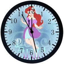 Little Mermaid Ariel Black Frame Wall Clock Nice For Decor or Gifts Z17