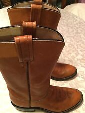 Boys Size 4 C Tony Lama boots brown leather Western Cowboy rodeo boots 2054