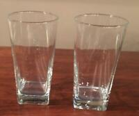 VINTAGE Drinking Glass Tumblers Clear 16 oz. Square Base Set of 2