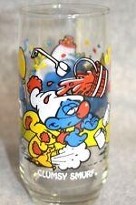 "1983 The Smurf's - Peyo "" Clumsy Smurf "" Cartoon Character Promo Glass - Nice!"