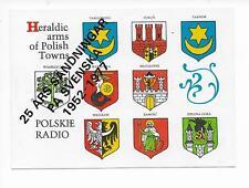 QSL Radio Poland 1977 Polskie Warsaw Warszawa 25 years Torun Wroclaw Heraldic DX