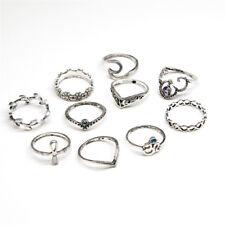 10Pcs Cross Leaf Geometric Finger Ring Set Crystal Hollow Rings Jewelry Set @