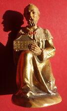 Petite statue ancienne, en bois polychrome et bois doré, Roi mage, parfait état