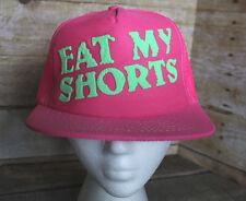 "80s 90s Vintage ""EAT MY SHORTS"" Retro Neon Pink Snapback Trucker Hat Cap NOS"