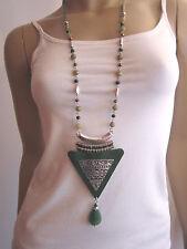 Modekette Damen Hals Kette lang Perlen Silber Grün Hippie Ethno Ibiza Boho w9981