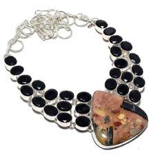 "Bertandrite, Black Onyx Gemstone .925 Silver Jewelry Necklace 18"" MR-58"