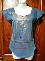 SUPER LUCKY CAT teal copper foil upcycled DIY tee top boho bohemian XS XXS 4B