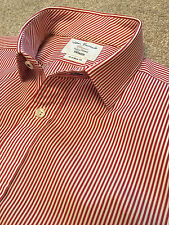 JOHN FRANCOMB TM LEWIN FULLY FITTED RED BENGAL STRIPE SHIRT DOUBLE CUFF 16  35