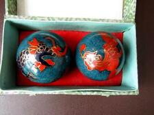 A Boxed Pair Of Vintage Chinese Cloisonne  Dragon Stress Balls, Chiming Balls
