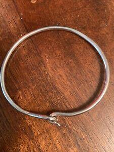 """Signed SP Hook and Loop 925 Sterling Silver Bangle Bracelet 8.5"""""""