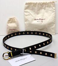 "Salvatore Ferragamo Gancio 23B218 Black Skinny Belt Leather 90 cm 36"" 1"" Width"