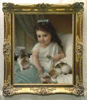 "Old Master-Art Antique Oil Painting Portrait girl cat on canvas 30""x40"""