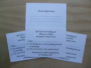Personalised Wedding RSVP Cards with Dietary Requirements
