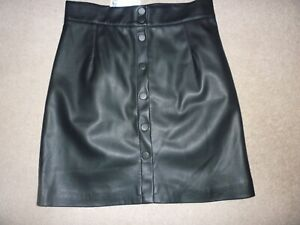 LADIES BLACK FAUX LEATHER SKIRT - SIZE 12 - BNWT