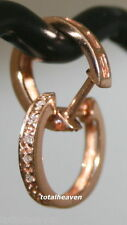"Solid 14K Pink Rose Gold Genuine Diamonds OVAL Huggies Hoop Earrings 0.46"" Small"