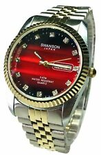 Swanson Japan Men's Watch Two- Tone Day- Date Red tone Stone Dial New
