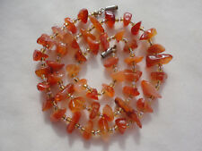 "18.5"" silver-plated screw barrel necklace Carnelian agate chip 27 gram"