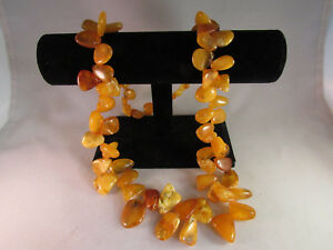Vintage Antique Russian Baltic Amber 29 Inch Necklace Butterscotch Egg Yolk 90.7