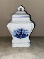 Antique Dutch Delft Canister with Lid, Blue Windmill, Ter Steege, Holland