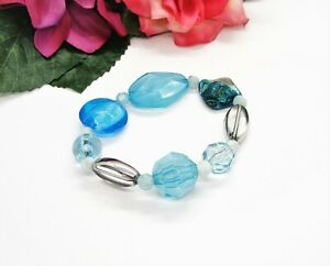 Nice! Shades Of Blue Art Glass Mother Of Pearl & Acrylic Beads Stretch Bracelet!