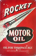 ROCKET MOTOR OIL , ALL WEATHER Metal tin Sign 450 X 300