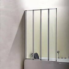 Aica 900x1400mm 4 Fold Folding Bath Shower Screen Chrome Frame Door Panel Glass