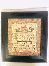 Vintage Needlepoint Sampler Framed Primitives Alphabet Crossstitch Country