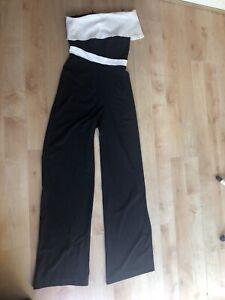 Bnwt Vesper One Shoulder Black/cream Jumpsuit Sz8 Tall