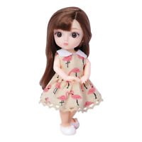 Moveable 12 Joints 16cm 1/8 Baby Doll Fashion Dress Up Toy DIY Accs Brown
