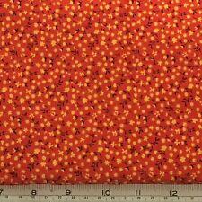 "4 Yards Orange Yellow Calico Retro Fabric 100 % Cotton 60's 36"" W Vintage New"