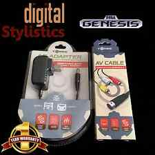 AC Adapter Power Supply & AV Cable Cord bundle for Sega Genesis 2/3 (BRAND NEW)