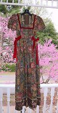 Vtg Young Edwardian by Arpeja Deep Red Olive Floral Long Dress sz 7, Camel Goat